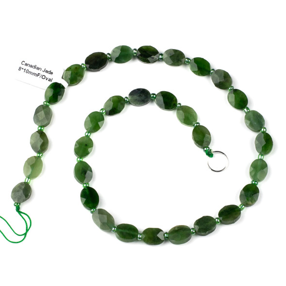 Canadian Jade 8x10-11mm Faceted Oval Beads - 4mm thick, 16 inch strand