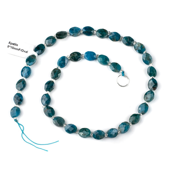 Apatite 8x9-10mm Faceted Oval Beads - 4mm thick, 16 inch strand