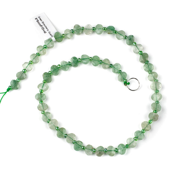 Green Strawberry Quartz 6x8mm Horizontally Drilled Faceted Oval Beads - 3.5mm thick, 16 inch strand