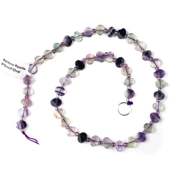 Rainbow Fluorite 6x8mm Horizontally Drilled Faceted Oval Beads - 3-3.5mm thick, 16 inch strand
