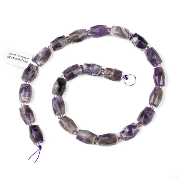 Chevron Amethyst 10x14mm Faceted Tube Beads - 15 inch strand