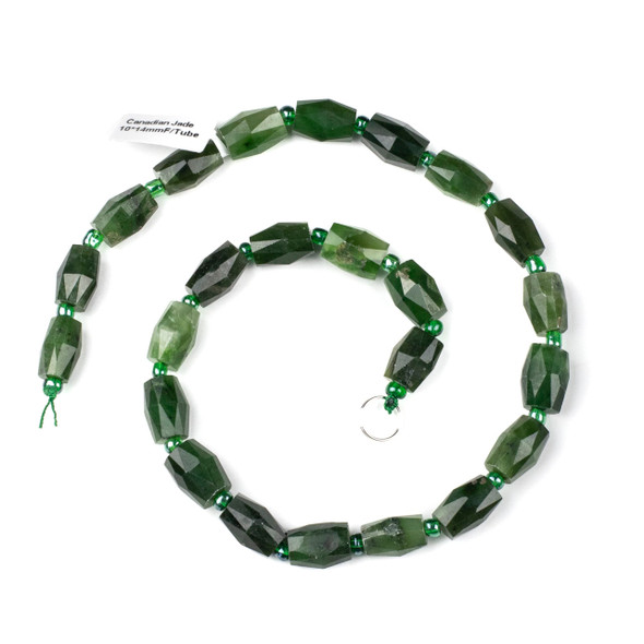 Canadian Jade 10x14mm Faceted Tube Beads - 15 inch strand