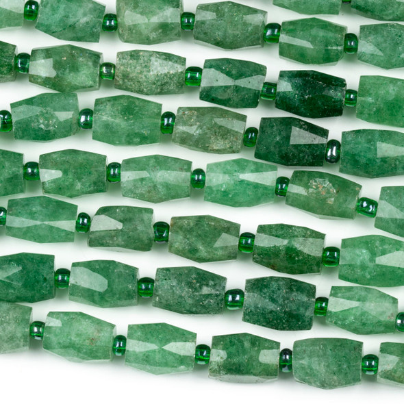 Green Strawberry Quartz 10x14mm Faceted Tube Beads - 15 inch strand