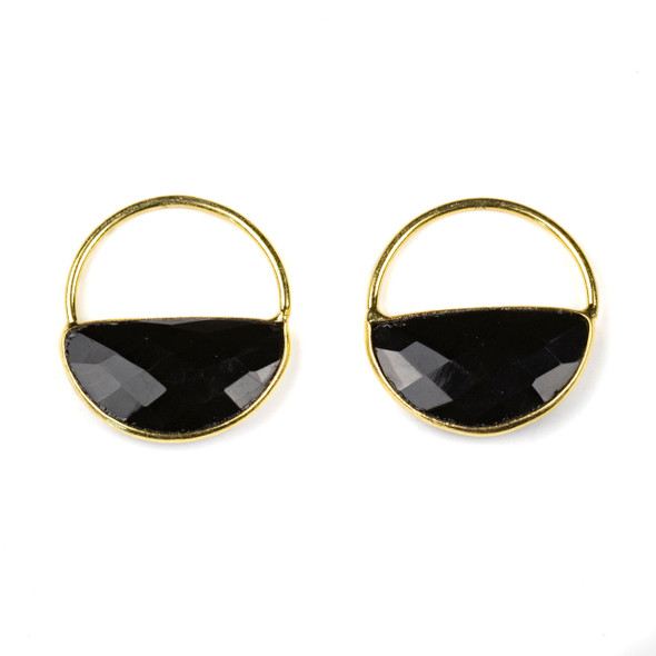 Onyx 25x28mm Semi Circle Component with a Gold Plated Bezel and Hoop - 2 per bag
