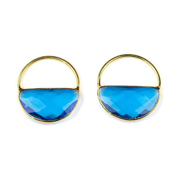 London Blue Quartz 25x28mm Semi Circle Component with a Gold Plated Bezel and Hoop - 2 per bag