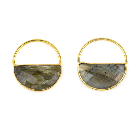 Labradorite 25x28mm Semi Circle Component with a Gold Plated Bezel and Hoop - 2 per bag