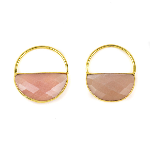 Peach Moonstone 25x28mm Semi Circle Component with a Gold Plated Bezel and Hoop - 2 per bag