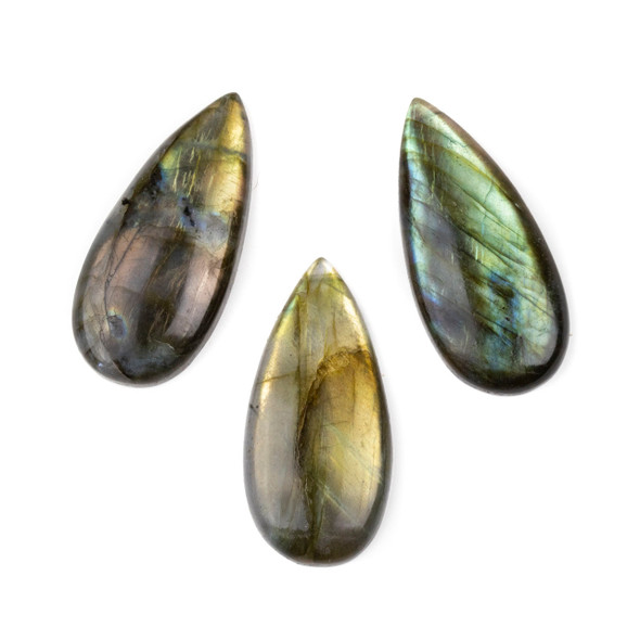 Labradorite 20x44mm Top Drilled Teardrop Pendant with a Flat Back - 1 per bag
