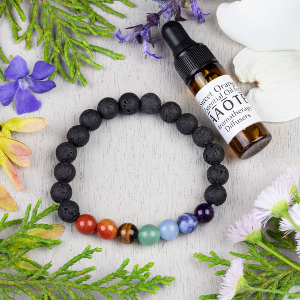 Aromatherapy Chakra Elastic Bracelet Kit with Sweet Orange Essential Oil - aromachakrabkit-3