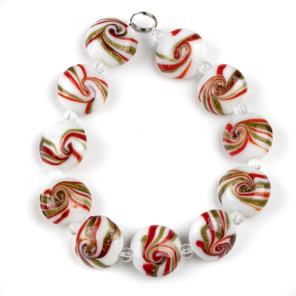 Handmade Lampwork Glass 16mm White Coin Beads with Red and Gold Glitter Swirls