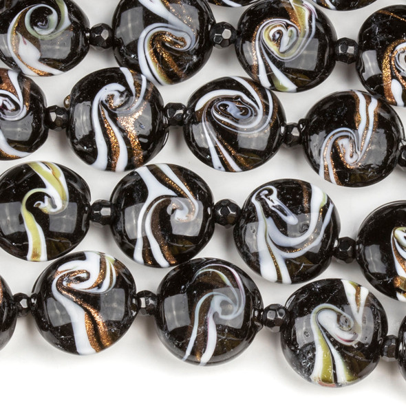 Handmade Lampwork Glass 16mm Black Coin Beads with White and Gold Swirls