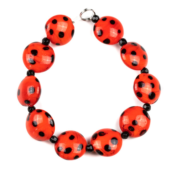 Handmade Lampwork Glass 16mm Red Coin Beads with Black Dots