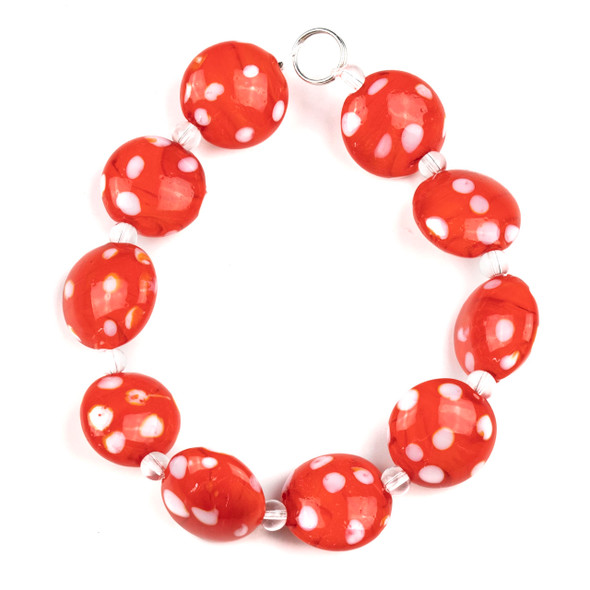 Handmade Lampwork Glass 16mm Red Coin Beads with White Dots