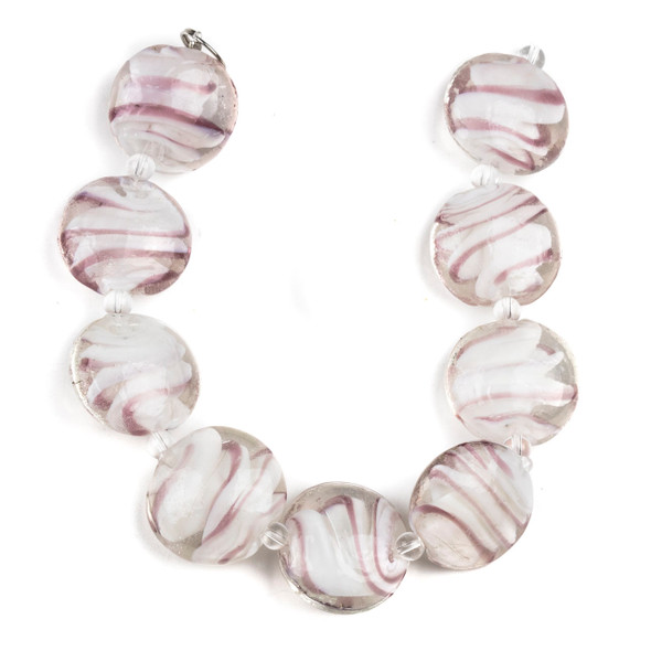 Handmade Lampwork Glass 20mm Coin Beads with Lavender and White Swirls