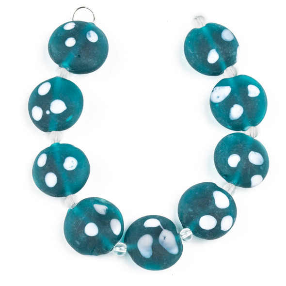 Handmade Lampwork Glass 20mm Matte Teal Green Coin Beads with White Dots