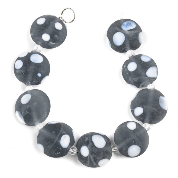 Handmade Lampwork Glass 20mm Matte Grey Green Coin Beads with White Dots