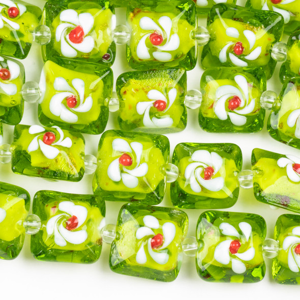 Handmade Lampwork Glass 16mm Lime Green Puff Square Beads with Flower
