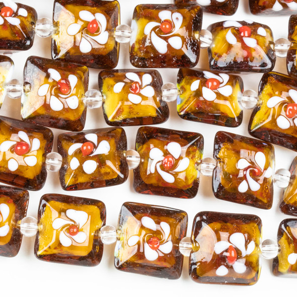 Handmade Lampwork Glass 16mm Brown Puff Square Beads with Flower