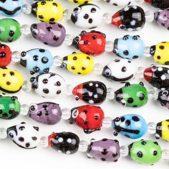 Handmade Lampwork Glass 9x12mm Multicolored Ladybug Beads