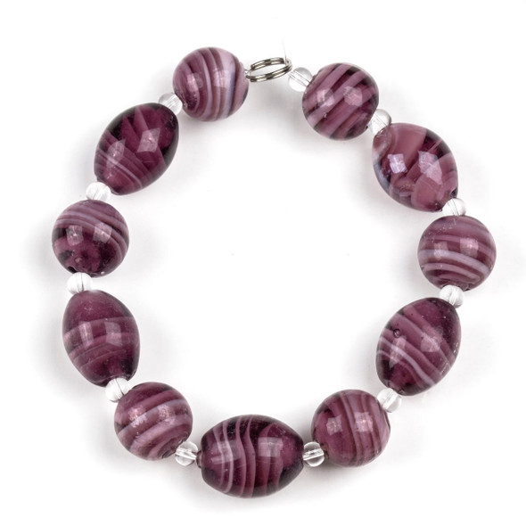 Handmade Lampwork Glass 14mm Amethyst Swirled Round Beads alternating with 13x18mm Egg Beads