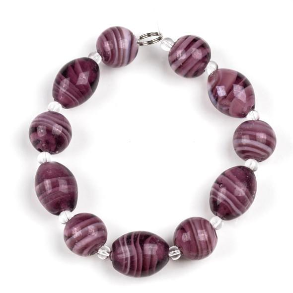 Handmade Lampwork Glass 14mm Amethyst Swirled Round Beads alternating with 13x18mm Egg Beads