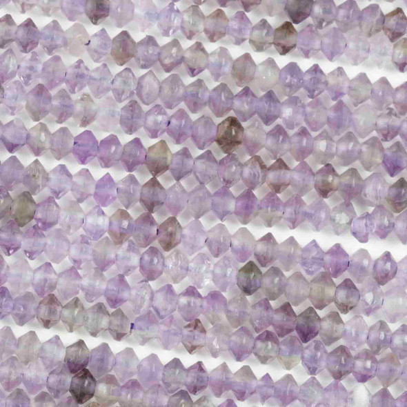 Amethyst 2x3mm Faceted Saucer Bicone Beads - 15.5 inch strand