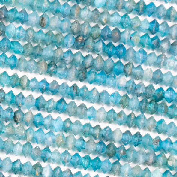 Apatite 2x3mm Faceted Saucer Bicone Beads - 15.5 inch strand