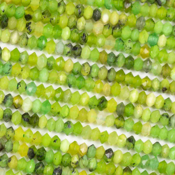 Chrysophrase 2x3mm Faceted Saucer Bicone Beads - 15.5 inch strand