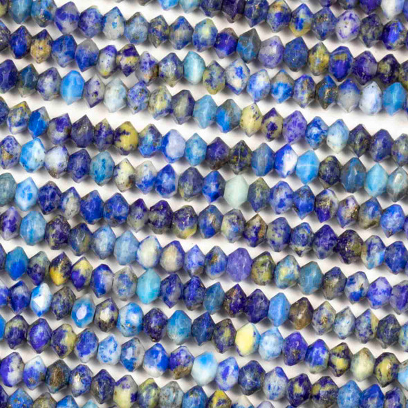 Lapis 2x3mm Faceted Saucer Bicone Beads - 15.5 inch strand