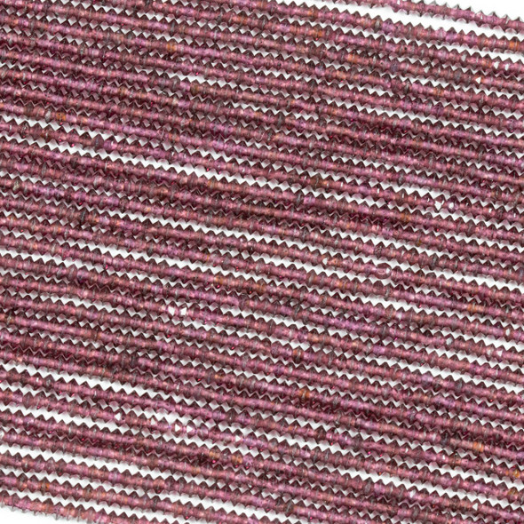 Purple Garnet 2x3mm Faceted Saucer Bicone Beads - 15.5 inch strand