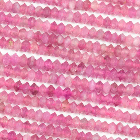 Pink Tourmaline 2x3mm Faceted Saucer Bicone Beads - 15.5 inch strand