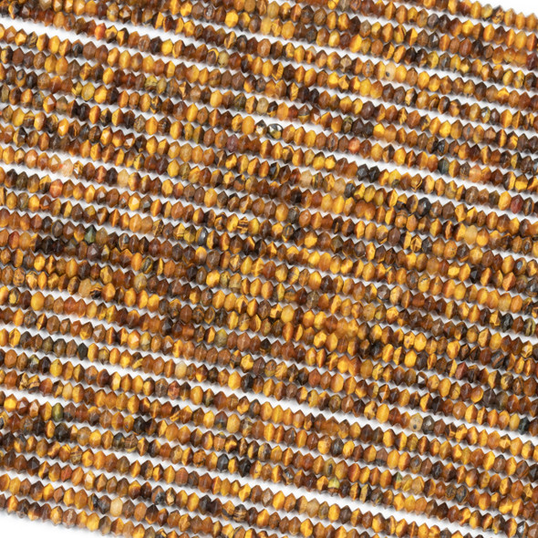 Yellow Tigereye 2x3mm Faceted Saucer Bicone Beads - 15.5 inch strand