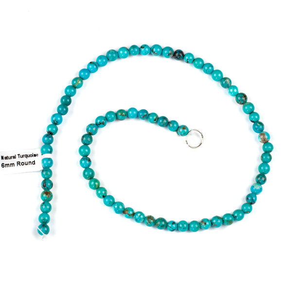 Natural Turquoise 6mm Round Beads - 16 inch strand