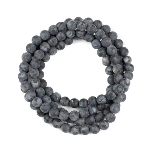 Matte Black Labradorite 8mm Mala Round Beads - 36 inch strand