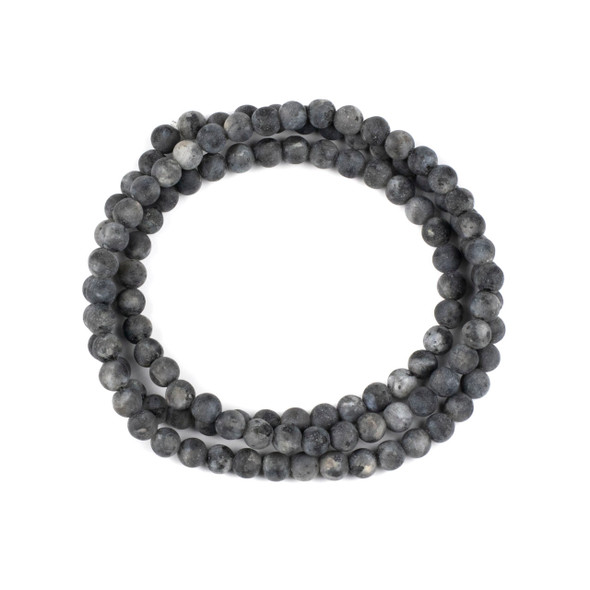 Matte Black Labradorite 6mm Mala Round Beads - 29 inch strand