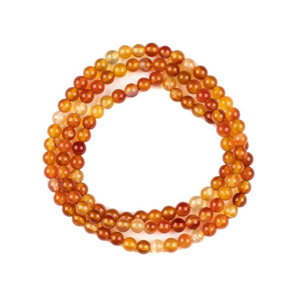Carnelian 6mm Mala Round Beads - 29 inch strand