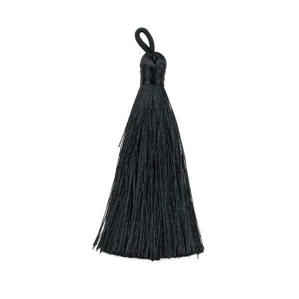 "Black 3"" Silky Thread Tassels - 1 per bag"