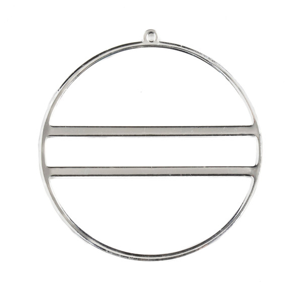 Silver Plated Brass 43x45mm Hoop Components with 2 Bars - 4 per bag - CTBYH-060s