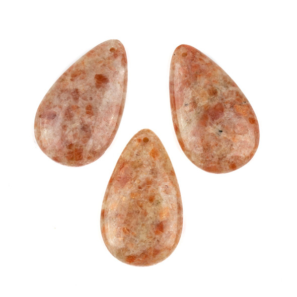 Sunstone 30x50mm Top Front to Back Drilled Teardrop Pendant with a Flat Back - 1 per bag