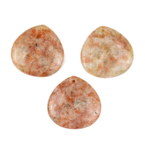 Sunstone 40mm Top Front to Back Drilled Almond Pendant with a Flat Back - 1 per bag
