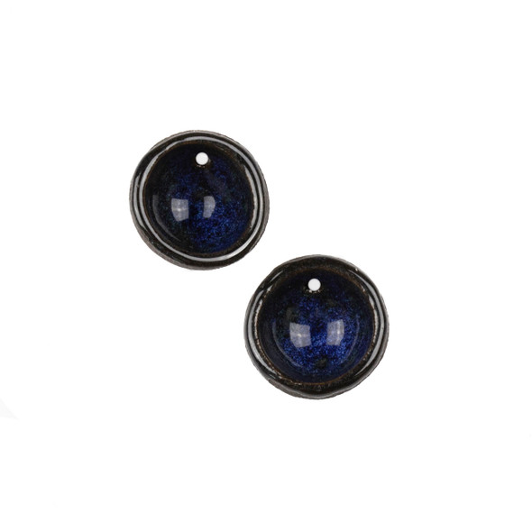 Handmade Ceramic 20mm Midnight Blue Cupped Disc Focals - 1 pair/2 pieces per bag