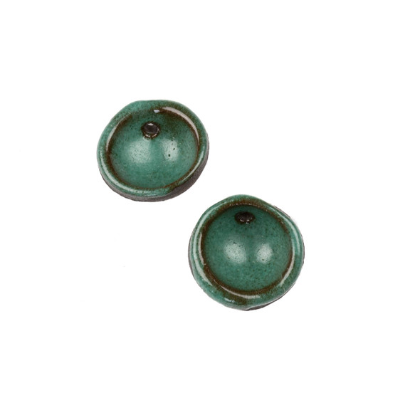 Handmade Ceramic 20mm Deep Turqquoise Cupped Disc Focals - 1 pair/2 pieces per bag