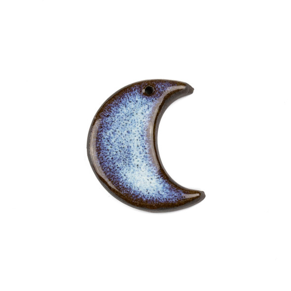 Handmade Ceramic 27x33mm Blue Mountain Frost Crescent Moon Focal - 1 per bag