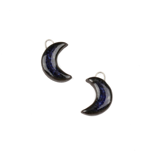 Handmade Ceramic 14x20mm Midnight Blue Crescent Moon Focals - 1 pair/2 pieces per bag
