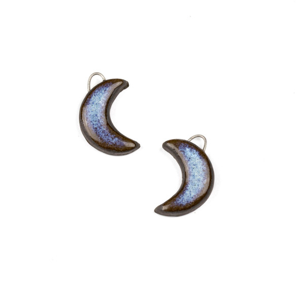 Handmade Ceramic 14x20mm Blue Mountain Frost Crescent Moon Focals - 1 pair/2 pieces per bag
