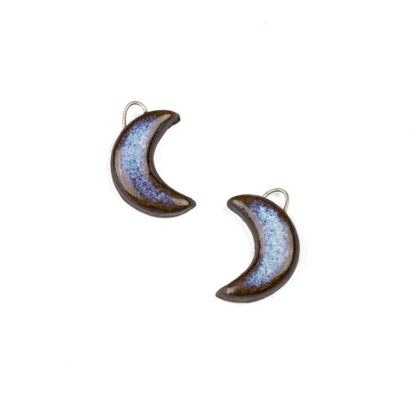 Handmade Ceramic 14x20mm Blue Mountain Frost Crescent Moon Focals - 1 pair/2 pieces per bag