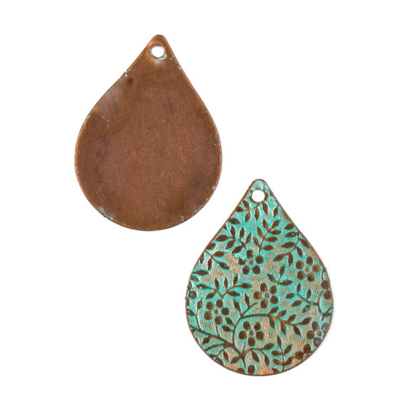 Copper Component - 22x28mm Green Patina Teardrop Drop with Stamped Flower and Vine Pattern