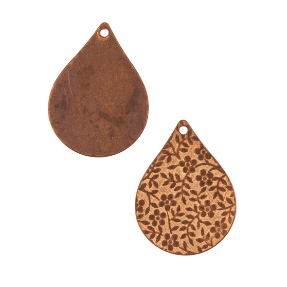 Copper Component - 22x28mm Teardrop Drop with Stamped Flower and Vine Pattern