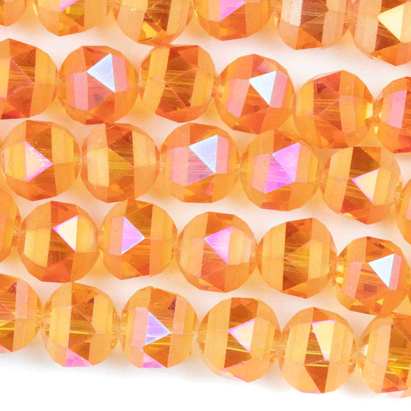 Crystal Orbits Matte 10mm Faceted Round Beads Peach AB - Approx. 15.5 inch strand