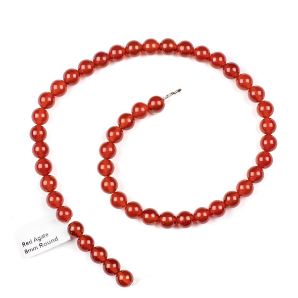 Red Agate 8mm Round Beads - 14.5 inch strand